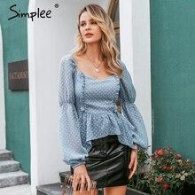 Simplee Sexy polka dot blusa de mujer con volantes Casual cuello cuadrado manga farol Blusa de gasa mujer elegante sólido slim blusa