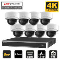 Hikvision Original CCTV System 8MP Camera System 8 Channel PoE NVR & 8 Pcs PoE IP Cameras Dome Outdoor HD Video Surveillance Kit