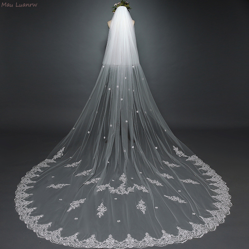 Cathdral 3M Long Bridal Veil Two Layers Face Cover Wedding Veil With Comb Lace Edge White/Ivory