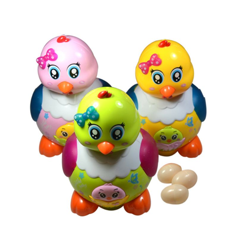 Funny Laying Eggs Chicken Hen Toys Electric Musical LED Light Educational Baby Kids Birthday Gifts E65D