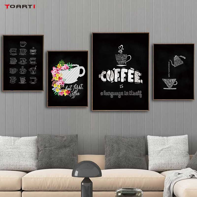 Coffee Quote Prints Posters Modern Canvas Painting On The Wall For Living Dining Room Home Decor Nordic Letters Art Pictures