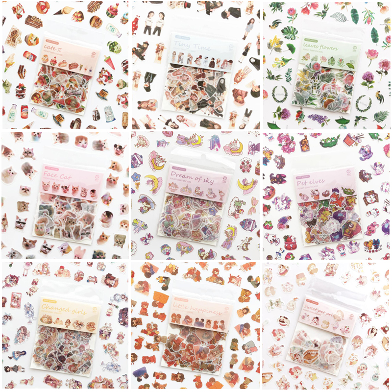 100 / Pack Cartoon Creative Cute Cat Plant Dessert Sticker Diary Scrapbook Handmade DIY Decorative Stickers Student Stationery