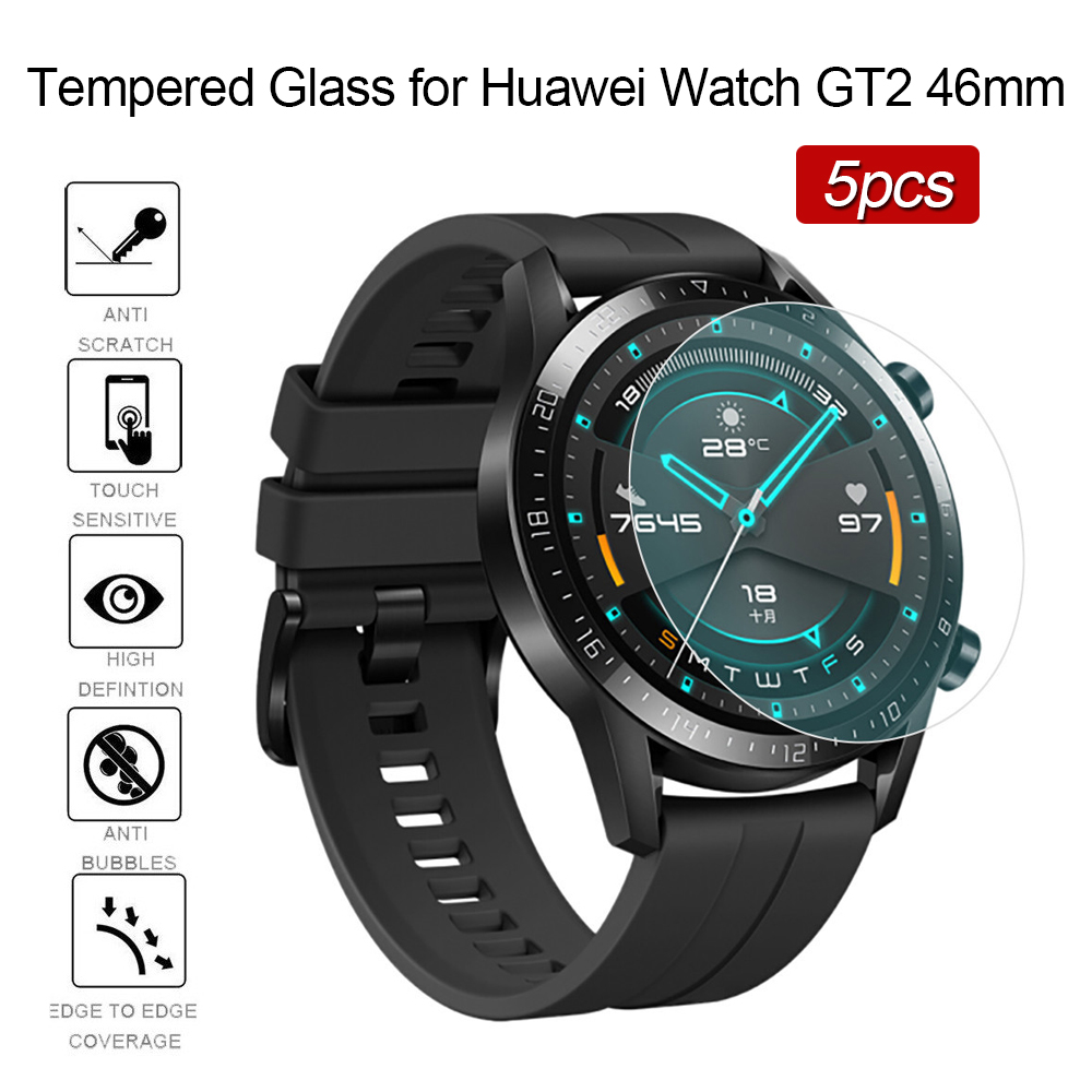 5pcs Tempered Glass On For Huawei Watch GT2 46mm Screen Protector Film Bubble Free Ultra Thin Huavey Huaway GT 2 46mm 9H Glas
