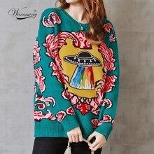 Feminino novo vintage quente engrossar suéteres ufo nuvens jacquard pullovers inverno outono de malha retro solto topos C 012