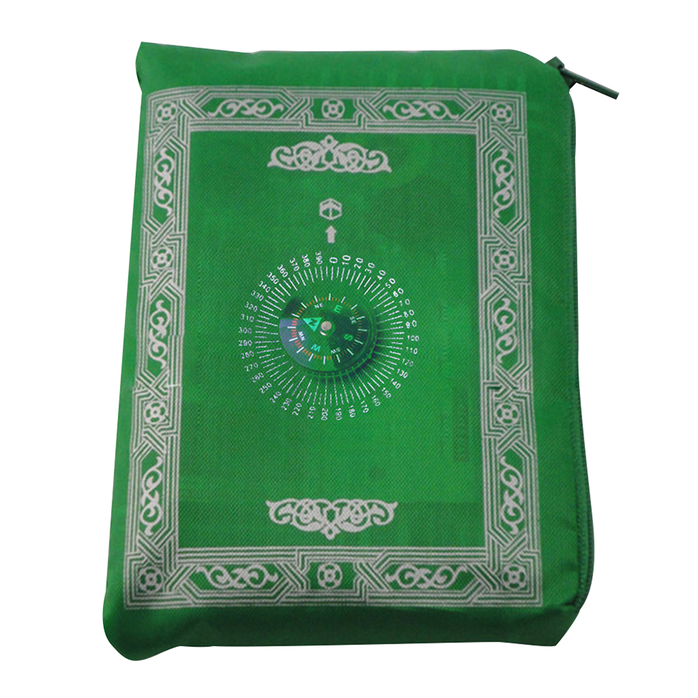 Image 5 - 100x60cm Four colors Easy Carry mubarak Muslim Prayer Rug Mat Islamic For Pocket Folding Blanket with for Compass