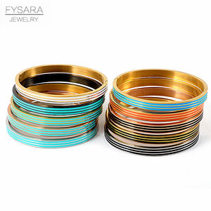 FYSARA Three Row Resin Bangles Stainless Steel Bangles Bracelets for Women Orange Blue Enamel Bangles Party Jewelry