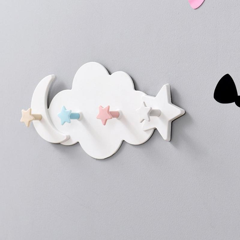 Self Adhesive Hooks Plastic Clothes Hanger Cute Wall Mounted Coat Hook Kid Children Room Wall Decorative Accessories