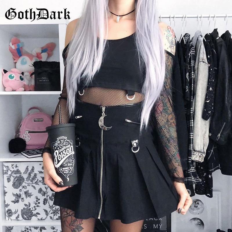 Goth Dark Black Gothic Vintage Skirts Harajuku moon Pendant Autumn Winter 2019 Grunge Punk Rock MIni Skirt Women Zipper Chic