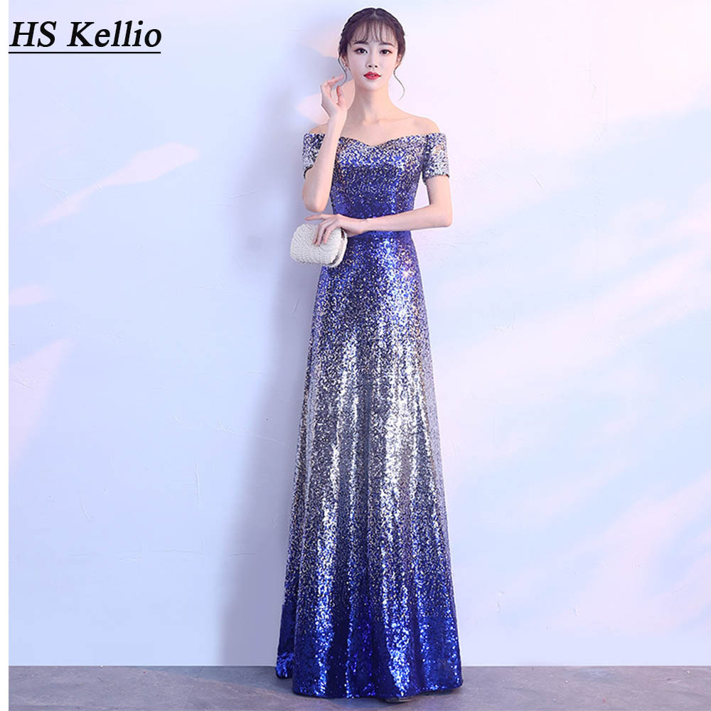 HS Kellio Sequined   Prom     Dress   For Plus Size Women Short Sleeve Christmas Party   Dresses   2020
