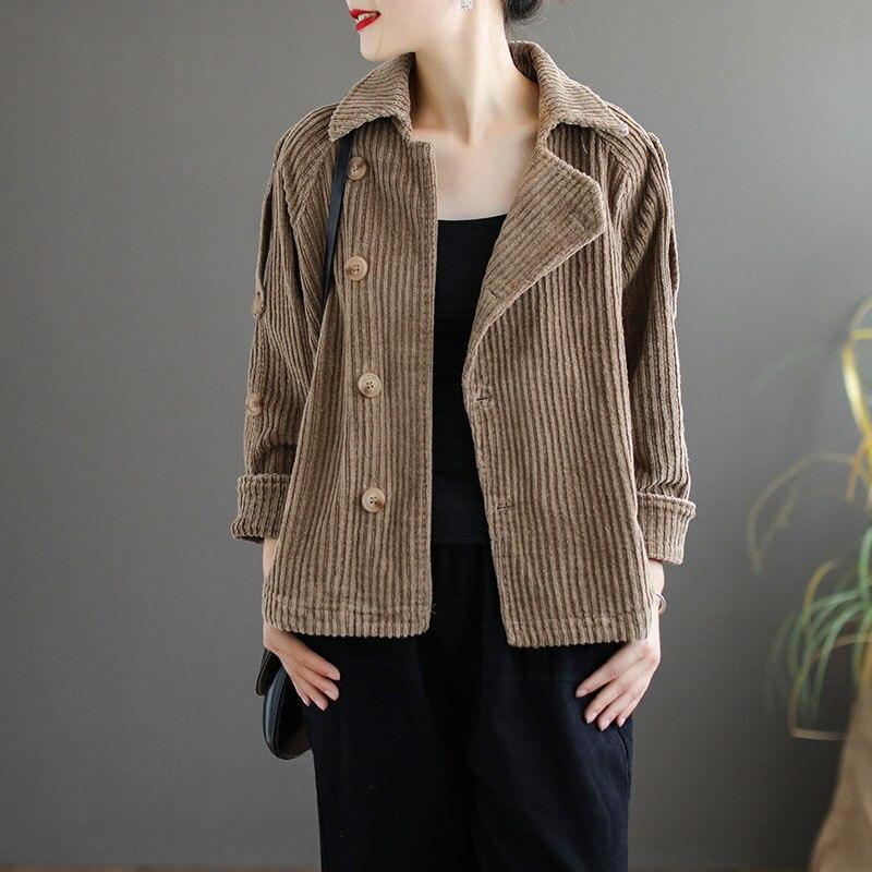 Automne hiver velours côtelé basique veste femmes à manches longues veste décontracté simple boutonnage coton manteau couleur unie vêtements kaki vert