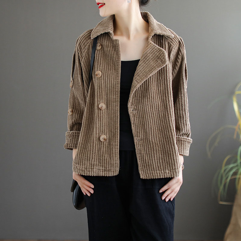 Autumn Winter Corduroy   Basic     Jacket   Women Long Sleeve   Jacket   Casual Single Breasted Cotton Coat Solid Color Clothing Khaki Green