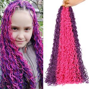 Косички для волос Mtmei ZiZi, волосы 28 дюймов, 48 прядей в коробке, косички для вязания крючком, серые, фиолетовые, розовые, блонд, зеленые вьющиеся ...