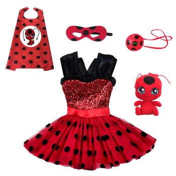 Carnival 2020 Redbug cosplay Girls Dress Summer Clothes Red bug Party Dress Children's day Lace Dot Baby Girls Dresses carnival red bug halloween cosplay costume princess flower girl dress summer tutu wedding birthday party red bug kids dresses