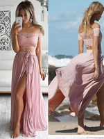 New Arrival Two Piece Set Lace Appliques Tops Side Split Chiffon Skirt Women Prom Dress