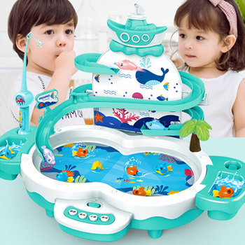 Kids Magnetic Electric Fishing Toys Multifunctional Music Fishing Game Children Water Toys Parent-child Educational Toy