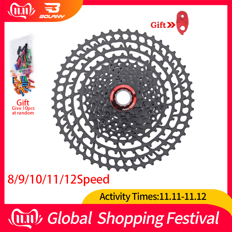 BOLANY MTB Cassette 8S/9S/10S/11S/12S 11-25 28 32 40 42 46 50 52T Sprockets Freewheel Wide Ratio Mountain Bicycle Accessories