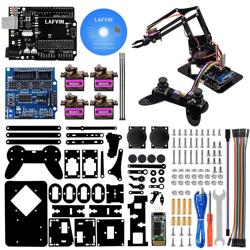 NUOVO LAFVIN 4DOF Acrilico Giocattoli Robot Braccio Meccanico Artiglio per il Kit di Arduino per UNO R3 Robot FAI DA TE con CD Tutorial