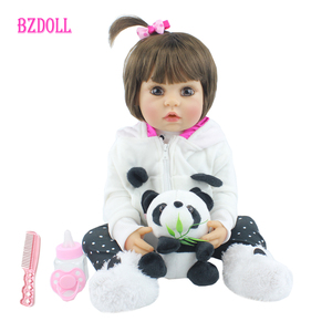 55 CM Full Soft Silicone Reborn Baby Girl Doll Toy Newborn Princess Alive Babies Bebe With Panda Boneca Bathe Toy Birthday Gift