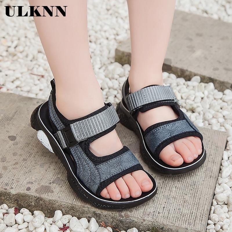 ULKNN Summer Beach Kids Sandals Boys Shoes For Children Sandals Girls Shoes Open-toe Anti-slippery Outdoor School Sandalet