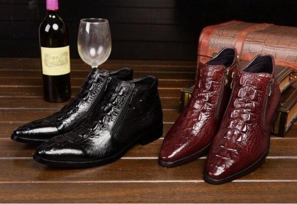 Autumn Winter Men's European American Crocodile PatternMartin Boots Genuine Leather  Boots Fashion Zip Buckle Boots