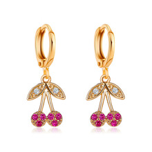 Classic Crystal Cherry Drop Dangle Earrings for Women Gold Color Statement Party Jewelry Long