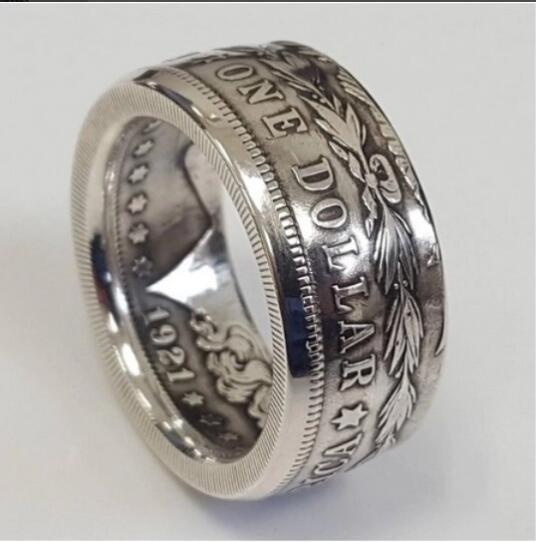 США 1921'eagle' Морган доллар посеребренное монетное кольцо ручной работы в размерах 8-16