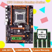 Build good computer brand HUANANZHI deluxe X79 motherboard bundle with M.2 slot CPU Intel Xeon E5 2620 V2 RAM 16G(4*4G) REG ECC