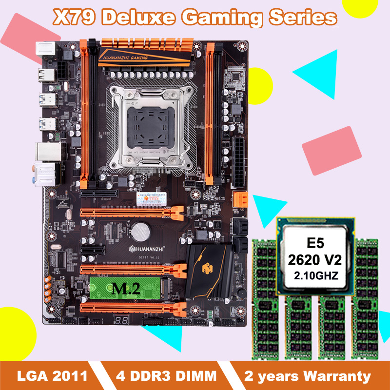 Build good computer brand HUANANZHI deluxe X79 motherboard bundle with M.2 slot CPU Intel <font><b>Xeon</b></font> <font><b>E5</b></font> <font><b>2620</b></font> <font><b>V2</b></font> RAM 16G(4*4G) REG ECC image