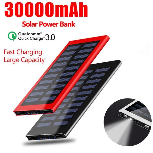 30000mAh Solar Power Bank Portable Waterproof LED Battery Powerbank Fast Charging External Battery for smart phone 1