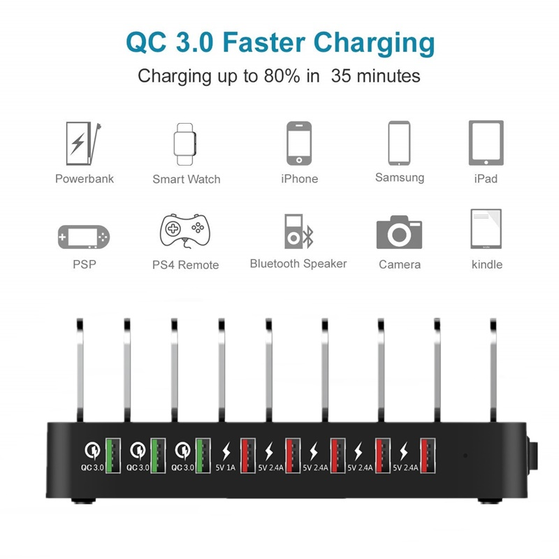 Tongdaytech 110W 8 Port Multi USB Charger For IPhone X 11 Carregador Quick Charge 3.0 Fast Charger Dock Station For Samsung S10