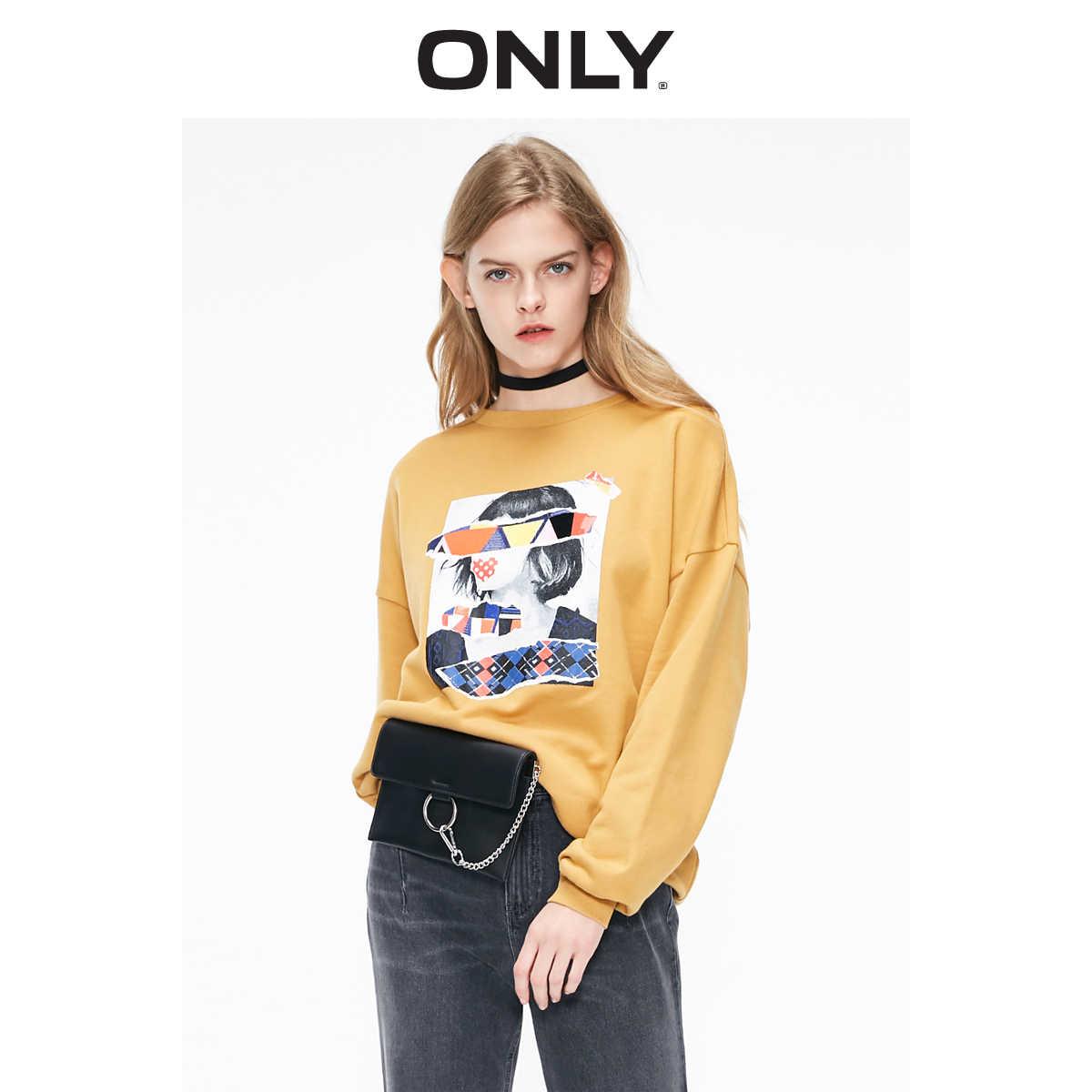 Tylko jesienno-zimowy damski luźny krój Splice nadrukowany sweter bluza | 11919S520