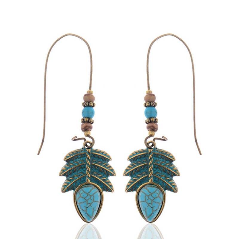 CARTER LISA Vintage Verdigris naturalny liść wisiorek z turkusem Boho komunikat wypadania Dangle kolczyki dla kobiet 2019 roślin biżuteria