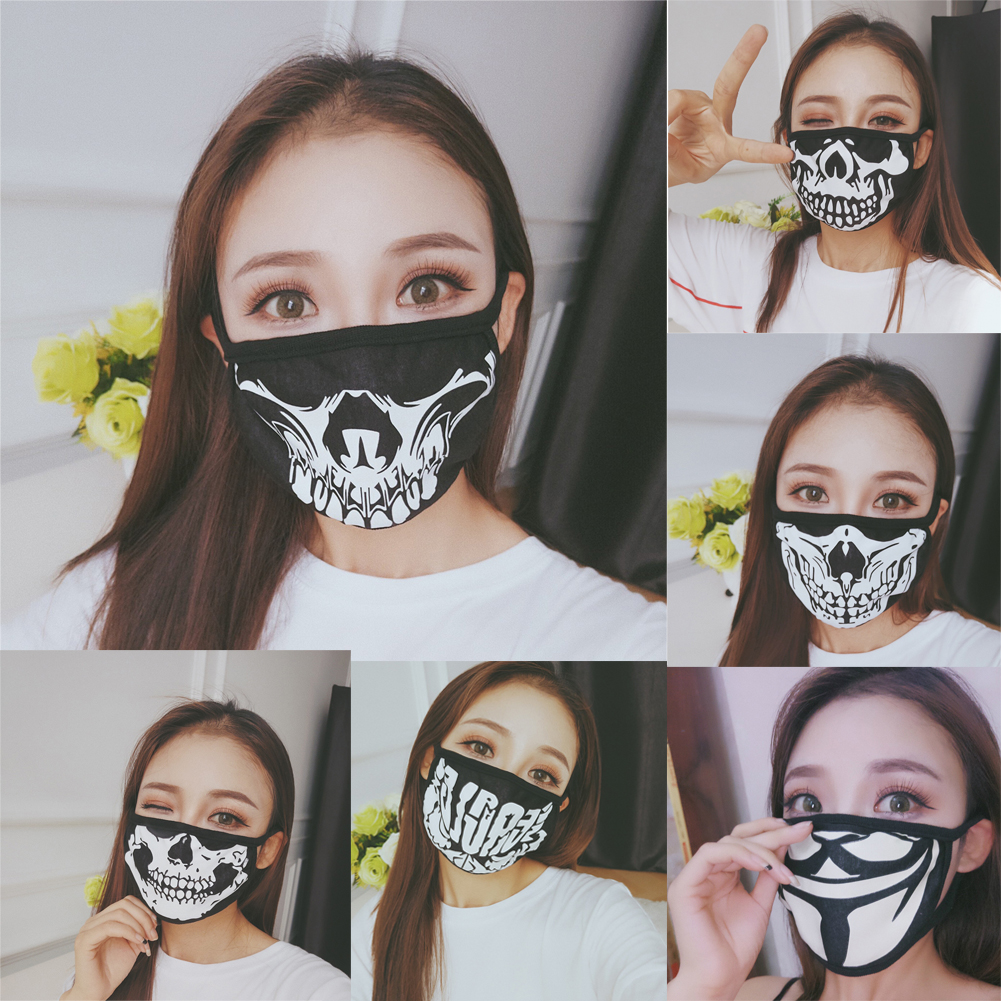 Cotton Dustproof Anime Cartoon Kpop Skeleton Magic Bicycle Ski Skull Mouth Masks Black White Mask Mouth Half Muffle Face Mask