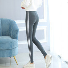 Womens Casual Black Grey Pencil Leggings Side White Stripe Elastic Cotton Leggings Pants Women Fashion Workout Legging for Women