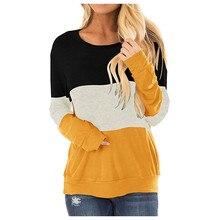 Women Plus Size Tops Shirt Warm Winter Apring Patchwork O-ne