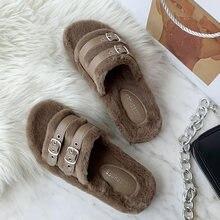 Women plush home slippers 2020 brand fashion faux fur warm flat