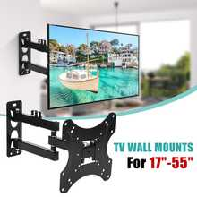 LEORY 17-55Inch Retractable Dual Arm Full Motion TV Wall Mount Tilt Swivels Screen Bracket Stand Plasma Holder(China)