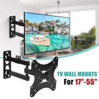 LEORY 17 55Inch Retractable Dual Arm Full Motion TV Wall Mount Tilt Swivels Screen Bracket Stand Plasma Holder
