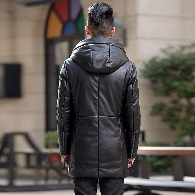 Men's Leather Jacket Winter Duck Down Coat Male Warm Long Second Layer Of Sheepskin Hood Jaqueta De Couro HN1716 LX2361
