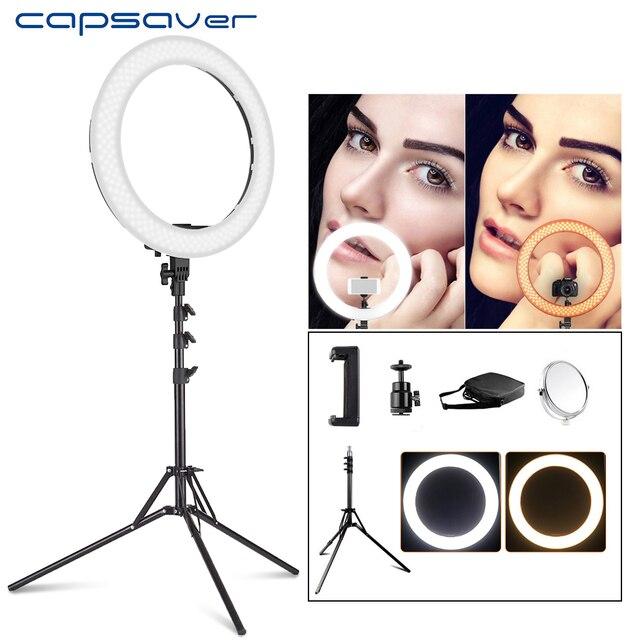 capsaver RL 18 LED Ring Light 18 inch Makeup Lamp with Tripod Mirror High CRI LED 5500K Camera Photo Youtuber Studio Video Lamp