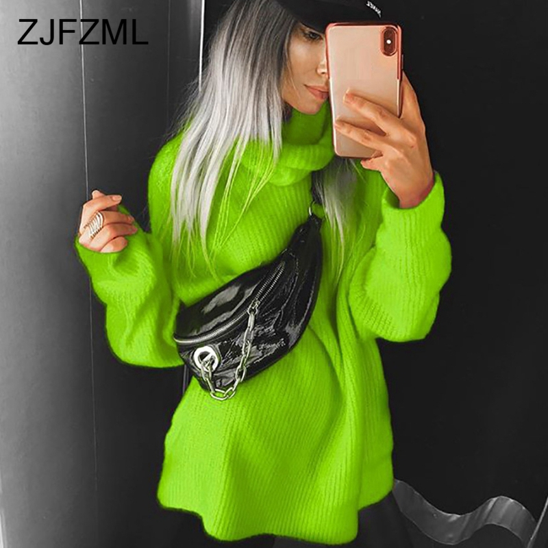 Winter Autumn Turtlenecks Sweaters For Female Neon Loose Long Sleeve Knitted Pullovers Causal Hot Pink Oversized Long Sweaters