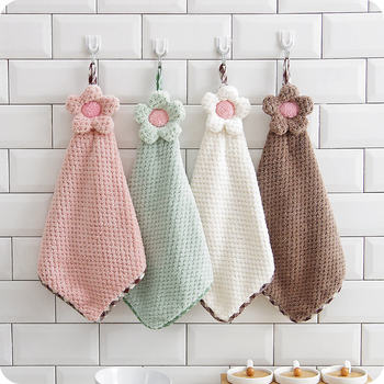 30*28CM Coral Velvet Flower Hand Towels Bathroom Hanging Towel Lint-Free Cleaning Cloth Cleaner Kitchen Absorbent Dishcloth 1PC coral velvet bathroom supplies soft hand towel absorbent cloth dishcloths hanging lint free cloth kitchen accessories