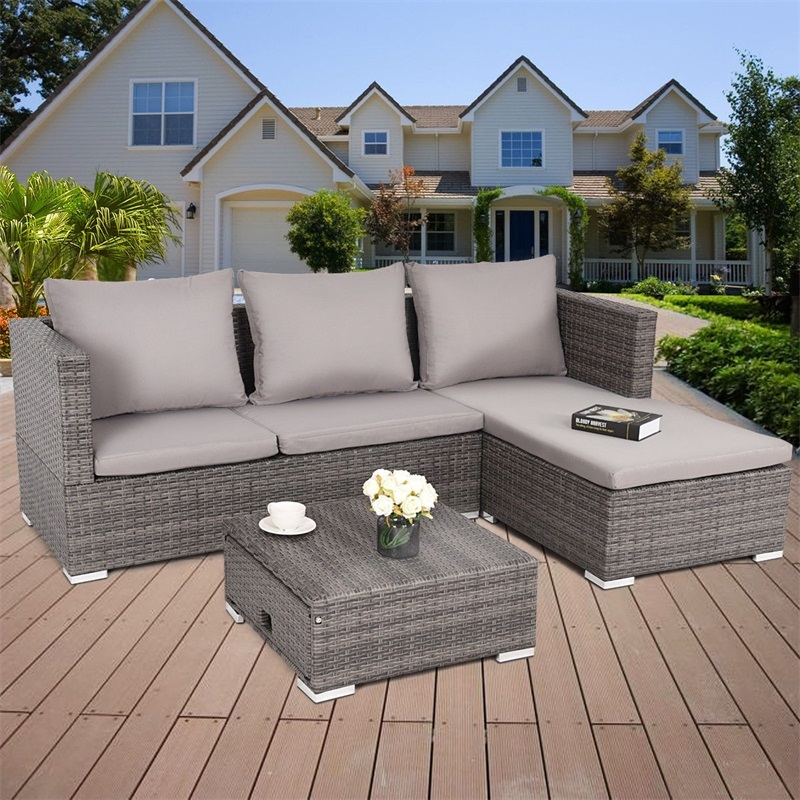 3 Pcs Steel Frame Adjustable Seat Rattan Wicker Sofa High Quality Garden Outdoor Furniture Set HW58279+
