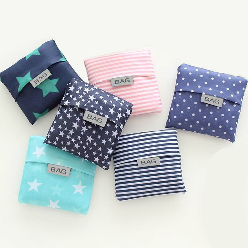 New Hot Sale Fashion Printing Shopping Bag Tote Folding Foldable Green Bag Handbags Convenient Large-Capacity Storage Bags