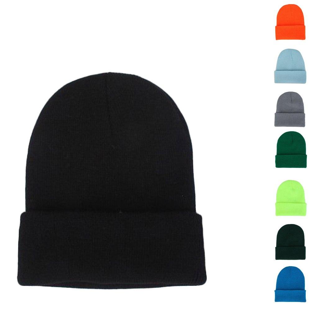 2019 New Winter Hats Unisex Women's Cotton Solid Warm Hot Sale HIP HOP Knitted Hat Female For Men Women Caps Skullies Beanies