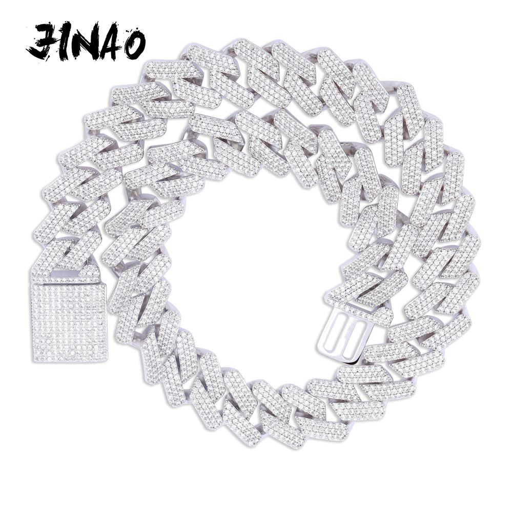 JINAO 20mm Miami New Box Big Clasp Cuban Link Chain Gold Necklace Iced Out Cubic Zirconia Bling Hip hop for Men Jewelry