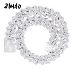 JINAO 20mm Miami New Box Big Clasp Cuban Link Chain Gold Silver Necklace Iced Out Cubic Zirconia Bling Hip hop for Men Jewelry