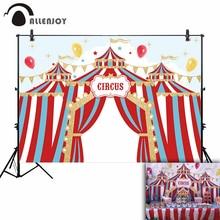 Allenjoy фото фон для фотосессии цирк вечерние золотые флаги синие красные полосы праздник дети воздушный шар звезды фон