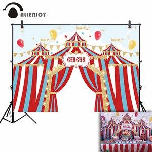 Image 1 - Allenjoy doğum günü sirk zemin parti altın bayrakları mavi kırmızı çizgili çocuk balon yıldız arka plan fotoğraf Photocall afiş