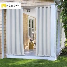 Nicetown 11 cores ao ar livre cortina cortina blackout luz bloqueio fade resistente com ilhós ferrugem-prova para varanda & praia & pátio